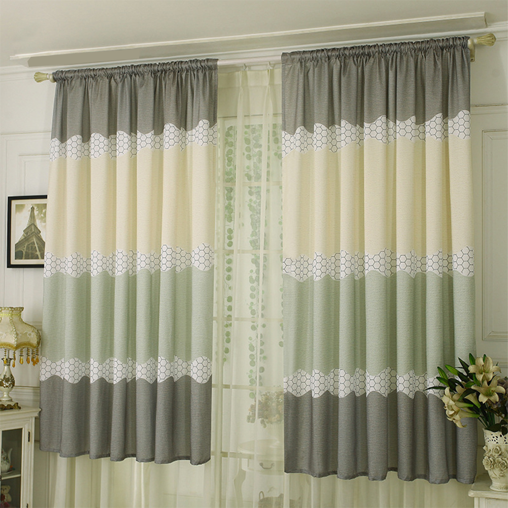 Wide Strip Semi Shading Window Curtain for Bedroom Living Room Rod Style green_1*2 meters high