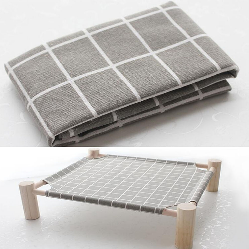 Small Dog Cat Bed Mats Breathable Comfortable Print Washable Pet Sleeping Cat Hammock Bed Kitten Puppy Nest Gray plaid (single cloth - no shelf)