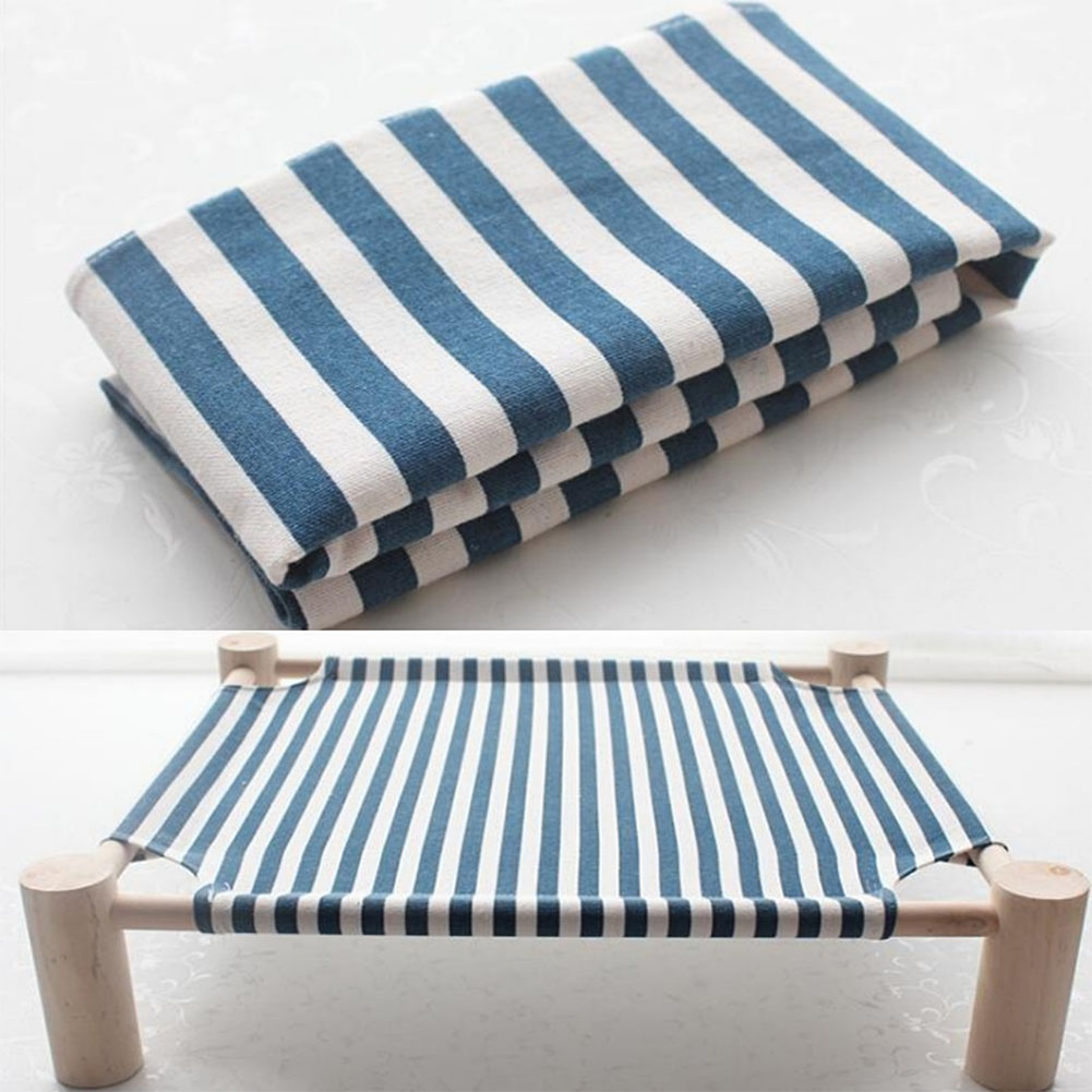 Small Dog Cat Bed Mats Breathable Comfortable Print Washable Pet Sleeping Cat Hammock Bed Kitten Puppy Nest Navy blue stripe