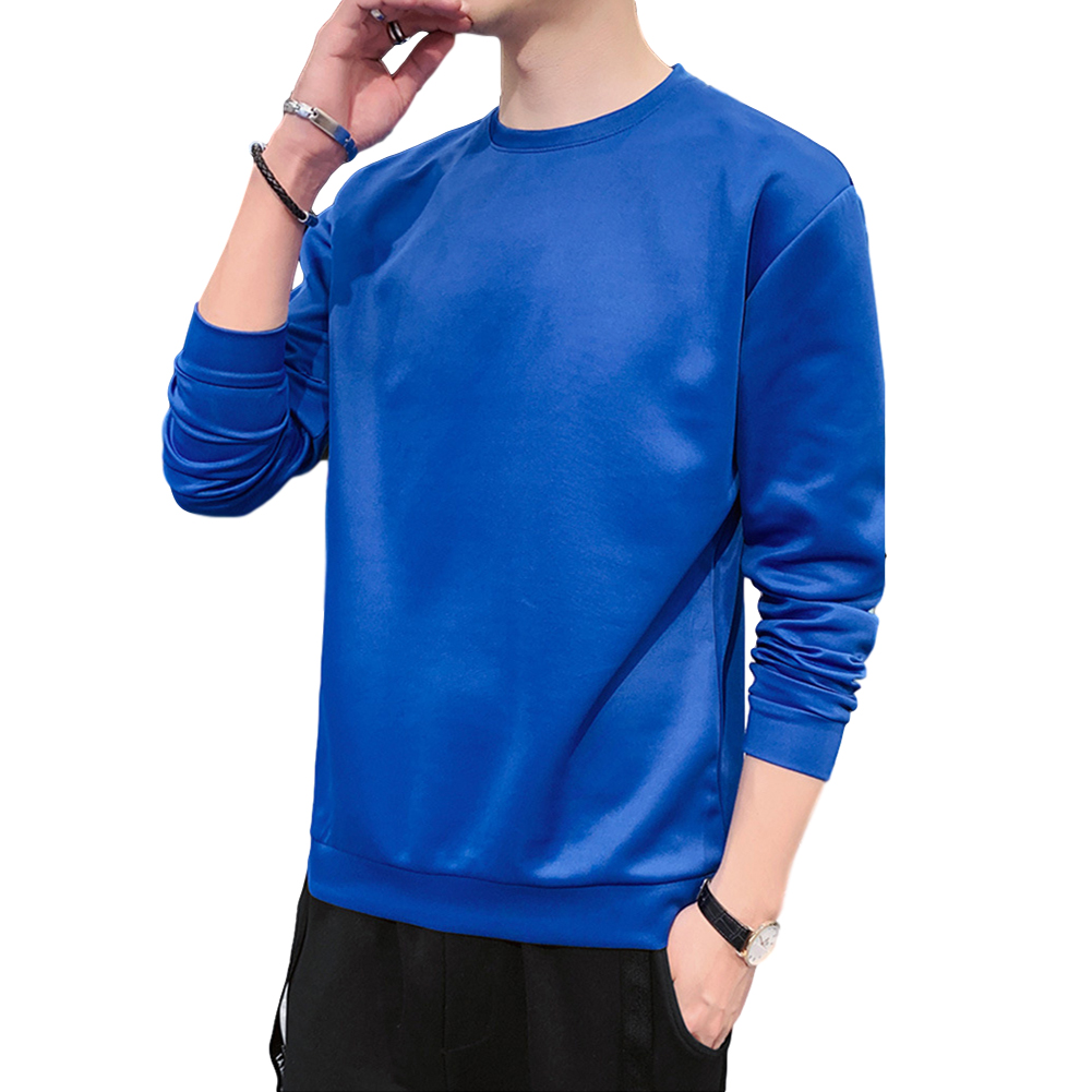 Men's Sweatshirt Round Neck Long-sleeved Solid Color Bottoming Shirt Sapphire blue_XXL