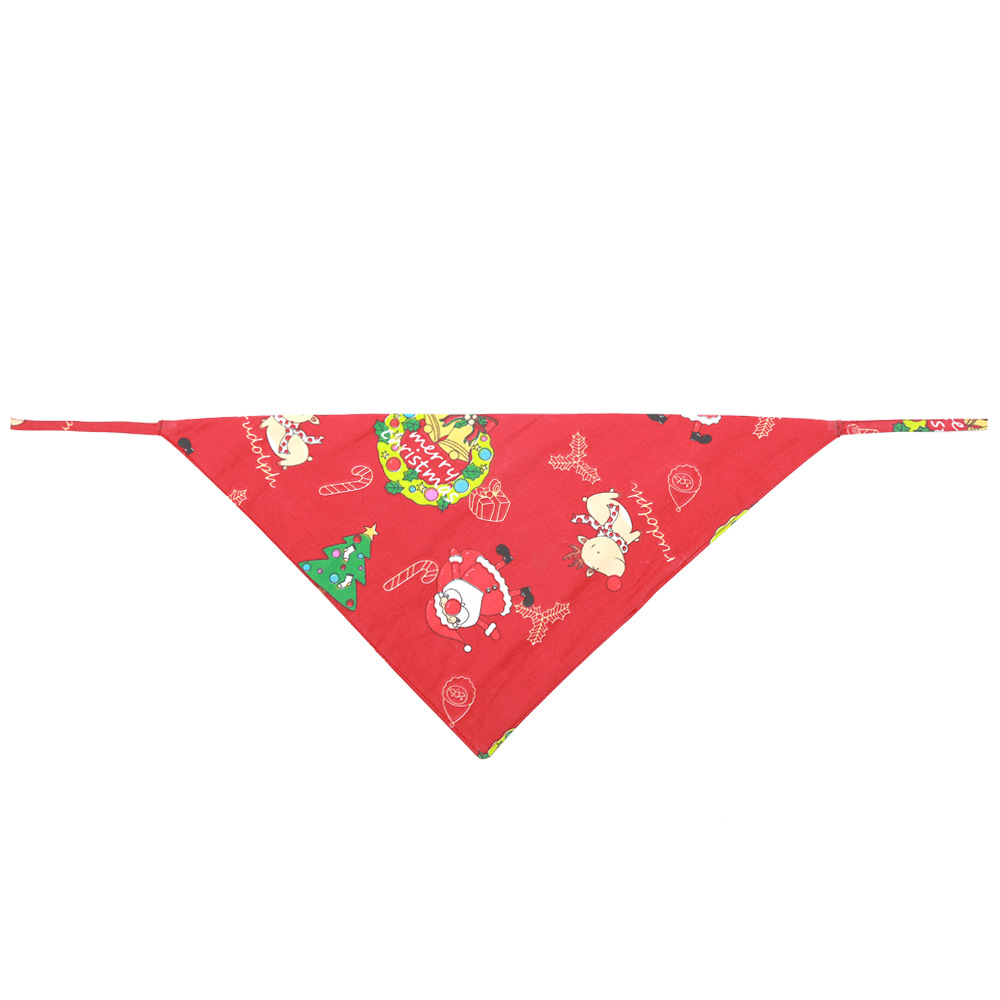 Pet Triangle Shaped Towel Christmas Xmas Puppy Saliva Towel Cat Dog Collar Style 2 red