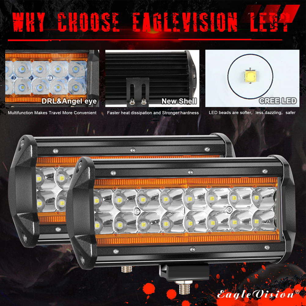2PCS 7Inch LED Light Bar Marker Lights 240W 24000LM 3000K+6000K Led Driving Lights Fog Lights Amber light + white light