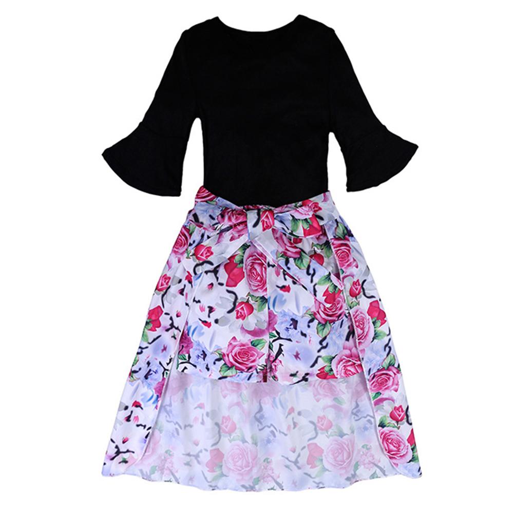 Girl Stylish Clothes Set Black T-shirt + Flower Shorts + Dovetail Skirt Gift Summer Wear 3PCS/Set