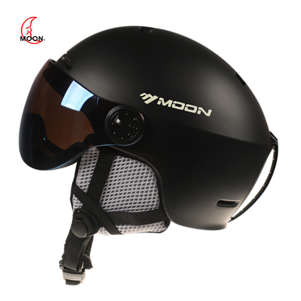 Ski Helmet Goggles Visor Men Women Snowboard Helmet Snowmobile Safety Helmet Mask black_M is suitable for 55-58CM head circumference