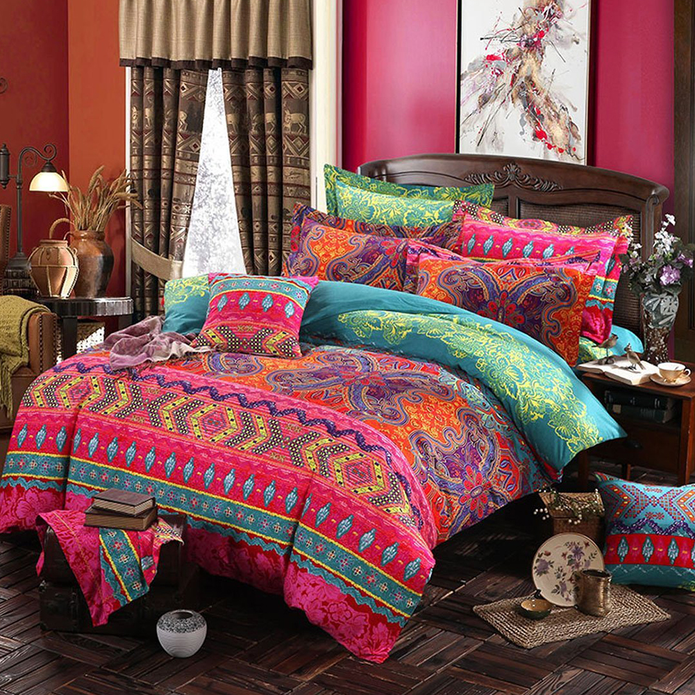 2/3Pcs Bohemian Style Printing Duvet Cover Pillowcase Bedding Set  Azoila imbricata