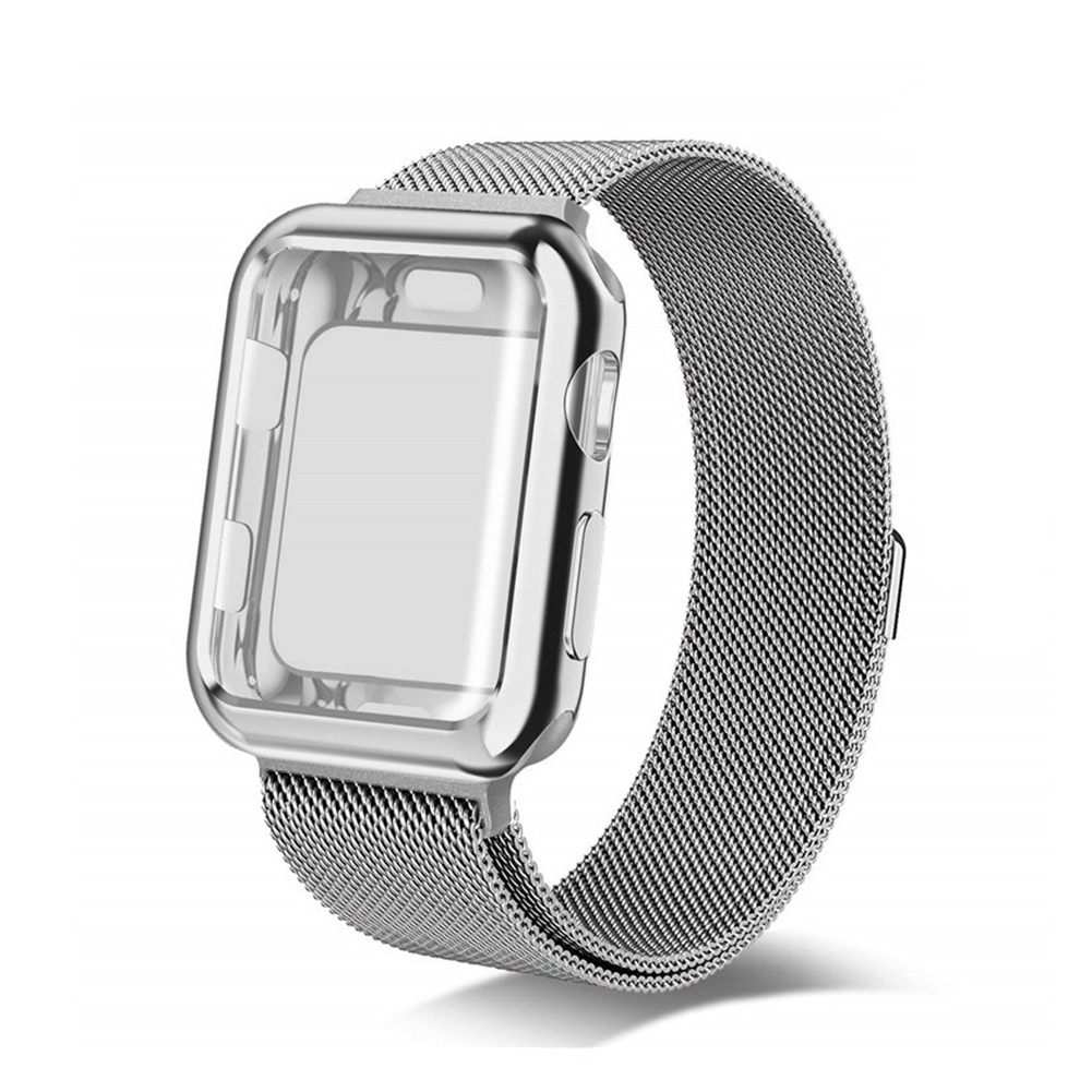 For Apple watch4/3/2/1 Milanese Full Cover Electroplating Shell Iwatch Band Watchband Set Silver 4th generation 44mm