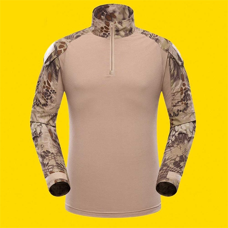Outdoor Sports Men Military Camouflage Hunting Clothing Soldiers Combat Tactical T-Shirt Long Sleeve Frog T-Shirts Sand python pattern_S