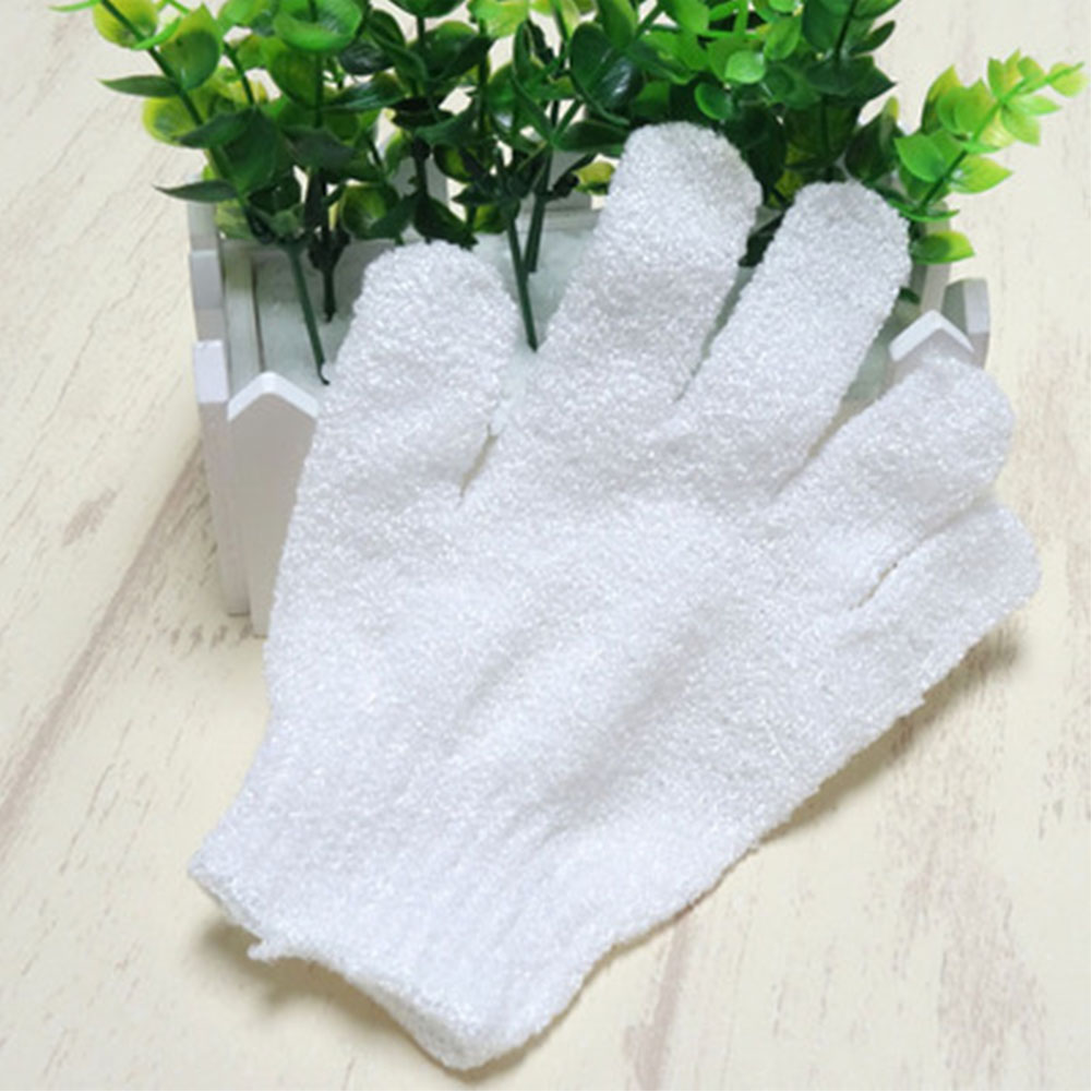Children Kids Exfoliating Body Scrub Gloves Shower Bath Mitt Skin Massage Bath Towel white
