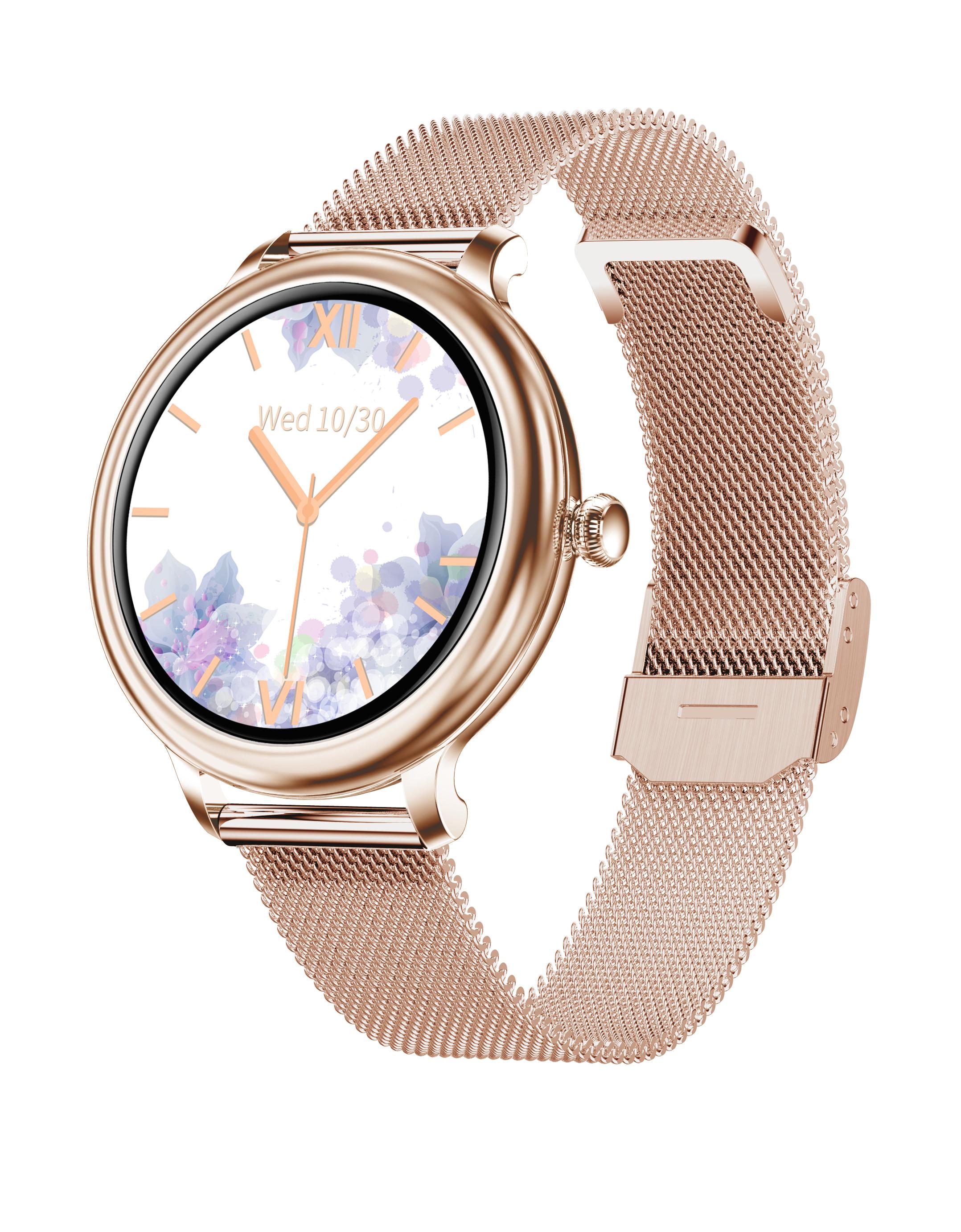 Ny13 Smart Watch Lady Heart Rate Blood Pressure Monitor Ip68 Waterproof 2.5d Lcd Screen Smartwatch Steel belt rose gold