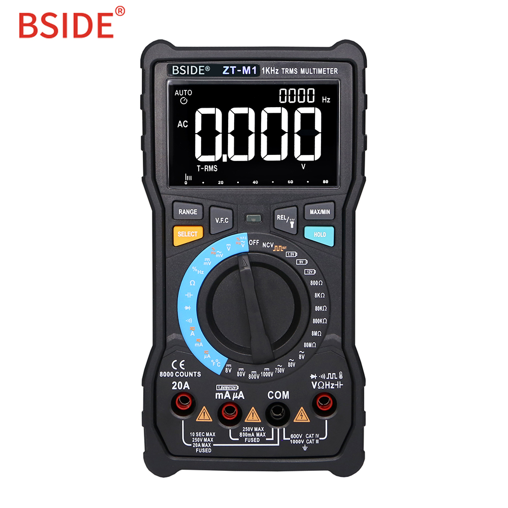 BSIDE ZT-M1 Auto/Manual Digital Multimeter EBTN Triple-View Display 8000 Battery Test Voltage VFC Square Wave Output Tester ZT-M1