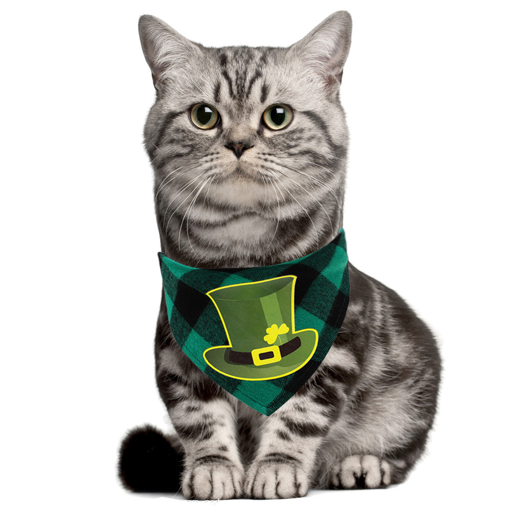 St. Patricks Day Pet Bandanas Printing Triangular Scarf for Dogs Cats Wear Hat check_Suitable for neck circumference 25-42CM