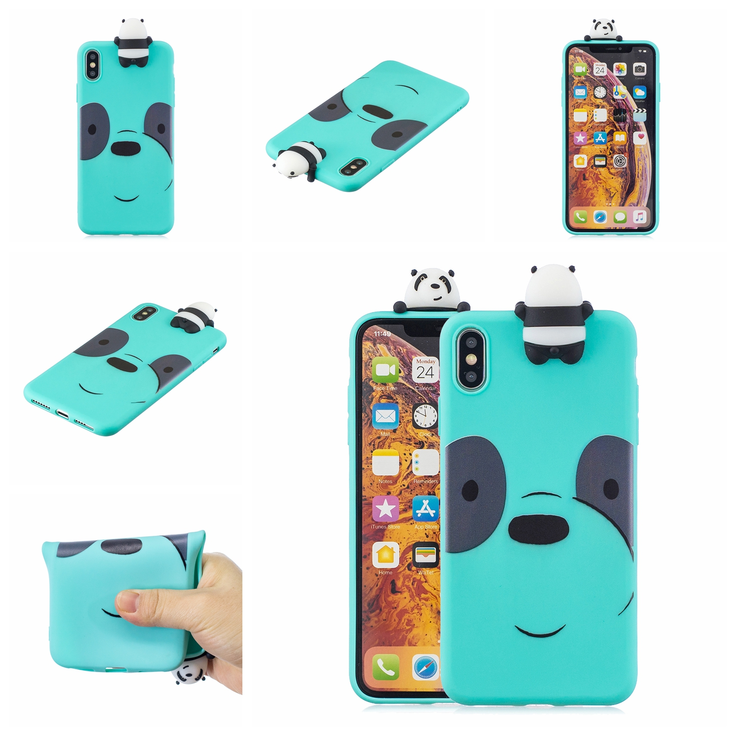 For VIVO V7 plus/Y75S/Y79/Y73 3D Cartoon Lovely Coloured Painted Soft TPU Back Cover Non-slip Shockproof Full Protective Case Light blue