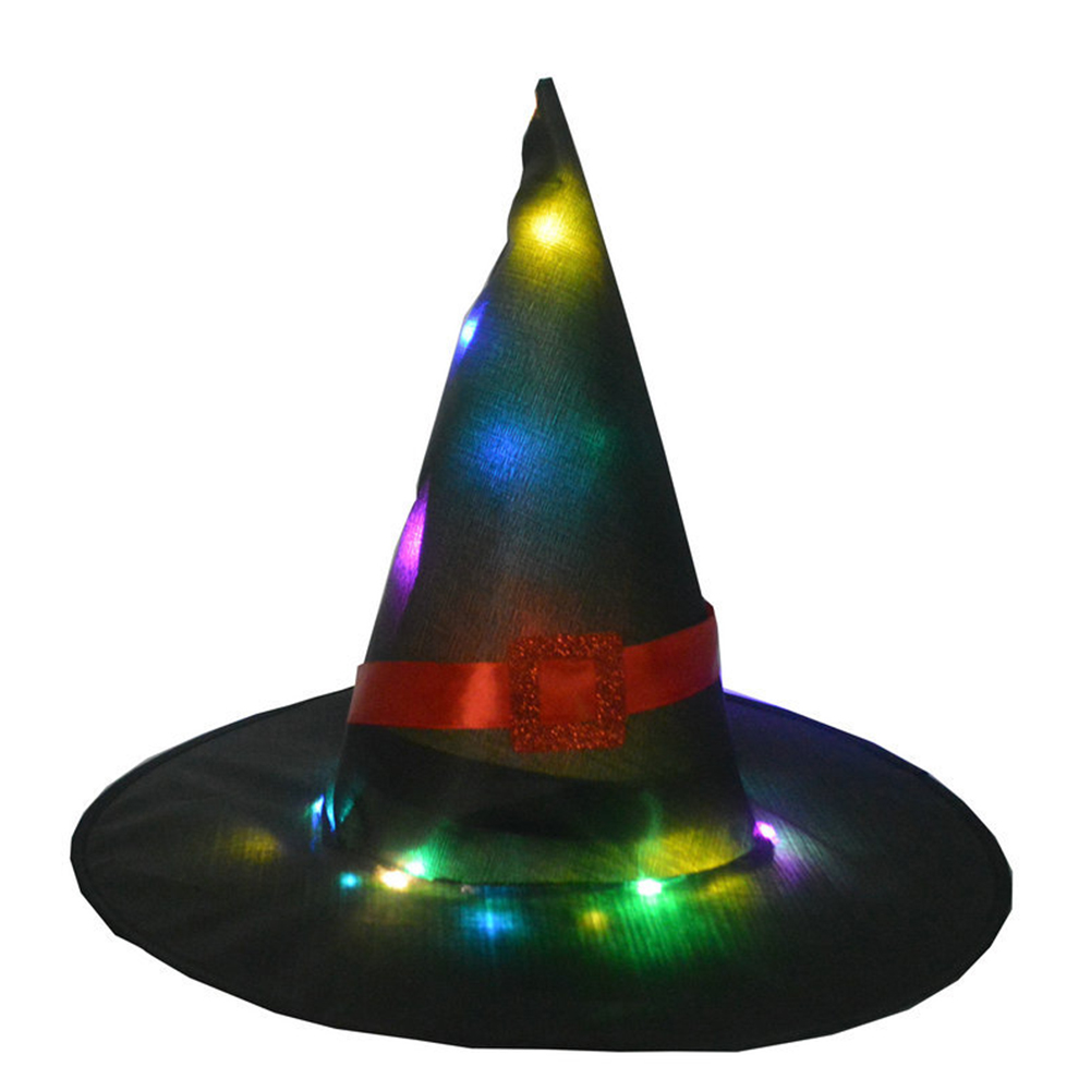 Halloween Glowing Witch Hat Lighting Head-wear for Outdoor Cosplay Props Black