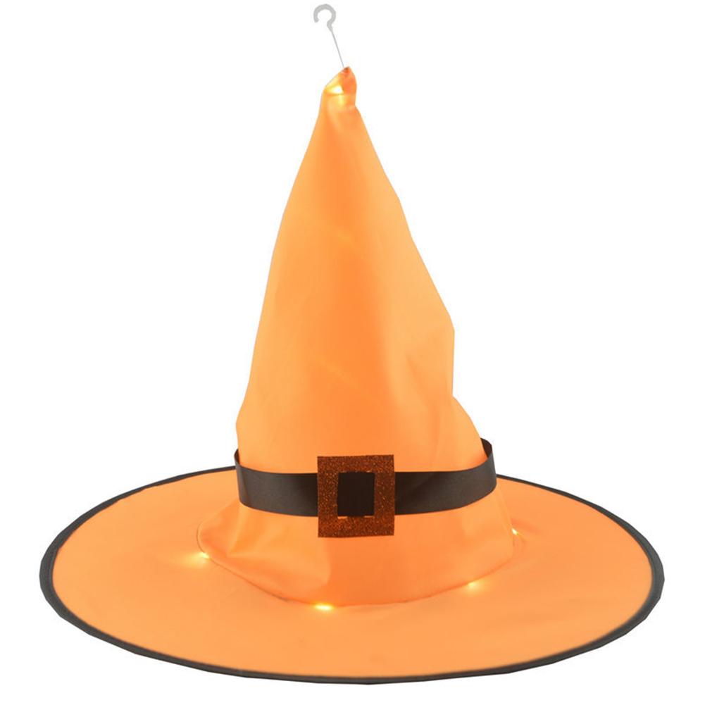 Halloween Glowing Witch Hat Lighting Head-wear for Outdoor Cosplay Props Orange