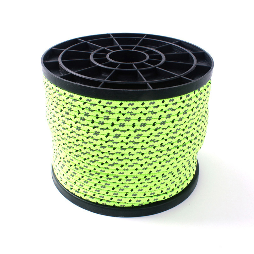Night High Recognition 50M Reflective Rope Ourdoor 4MM Tent Line Fixed Rope PP Rope dark green