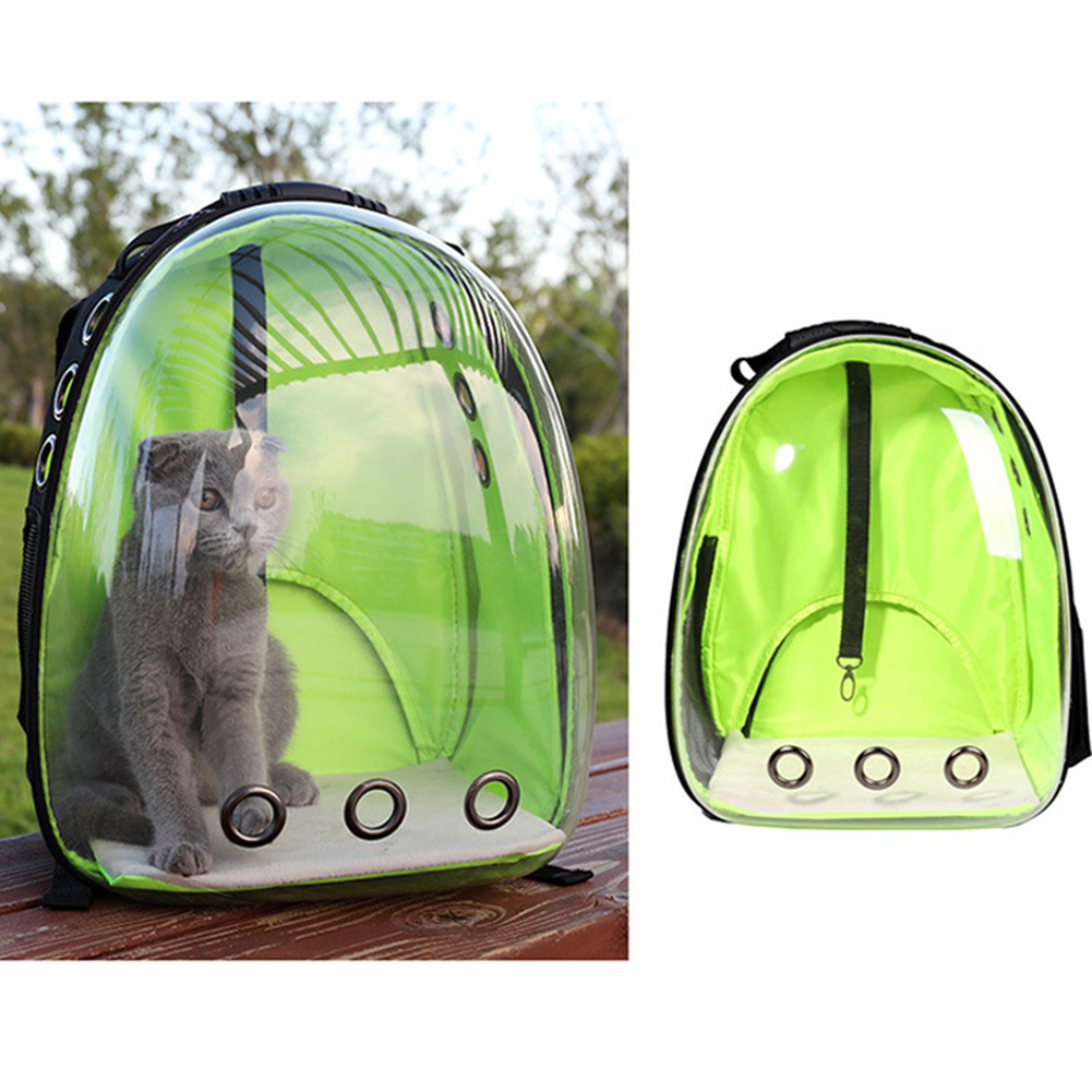 Breathable Pet Cat Dog Backpack Space Capsule Travel Bag for Outdoor Carrying green