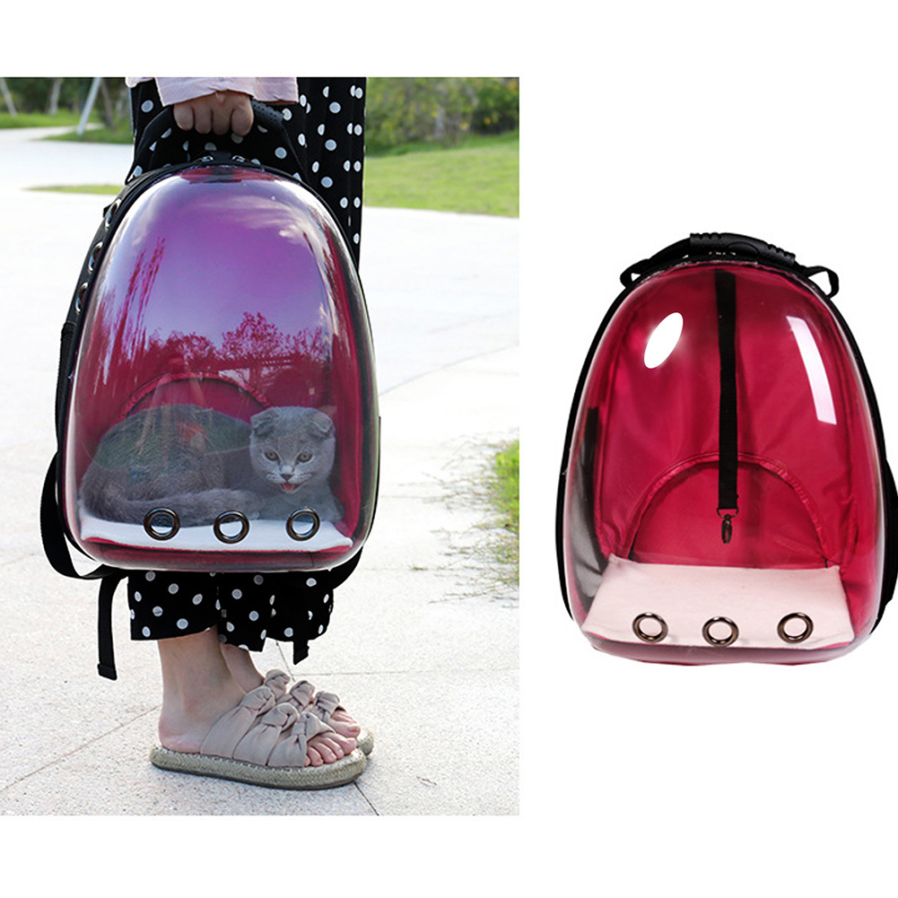 Breathable Pet Cat Dog Backpack Space Capsule Travel Bag for Outdoor Carrying red