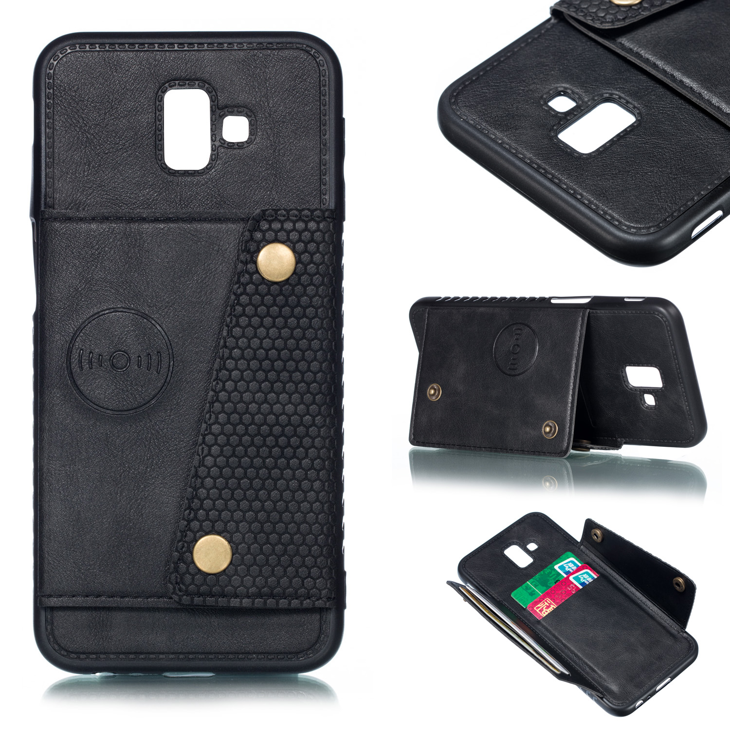 For Samsung J6 PLUS Double Buckle Non-slip Shockproof Cell Phone Case with Card Slot Bracket black