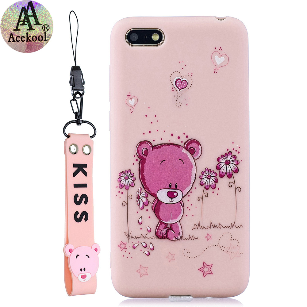 Acekool for HUAWEI Y5 2018 Cartoon Lovely Coloured Painted Soft TPU Back Cover Non-slip Shockproof Full Protective Case with Lanyard Light pink