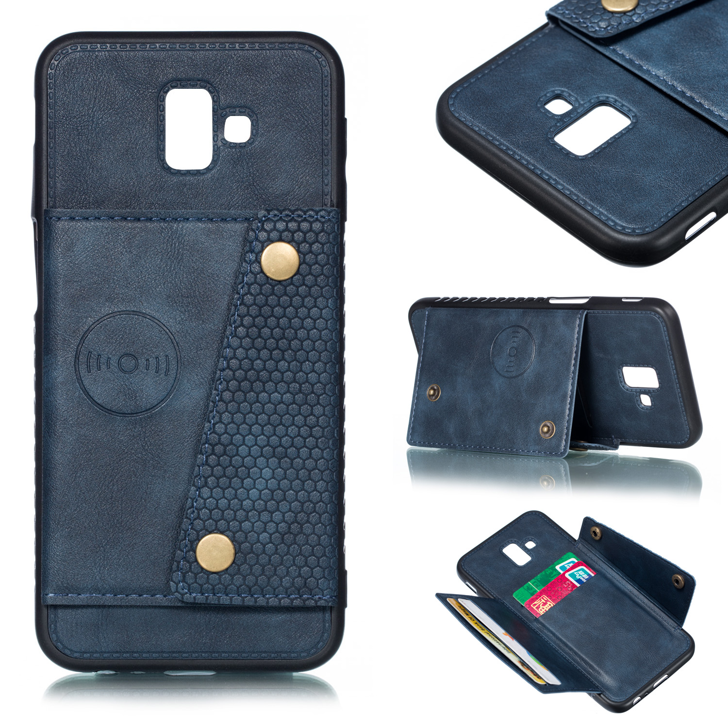 For Samsung J6 PLUS Double Buckle Non-slip Shockproof Cell Phone Case with Card Slot Bracket blue