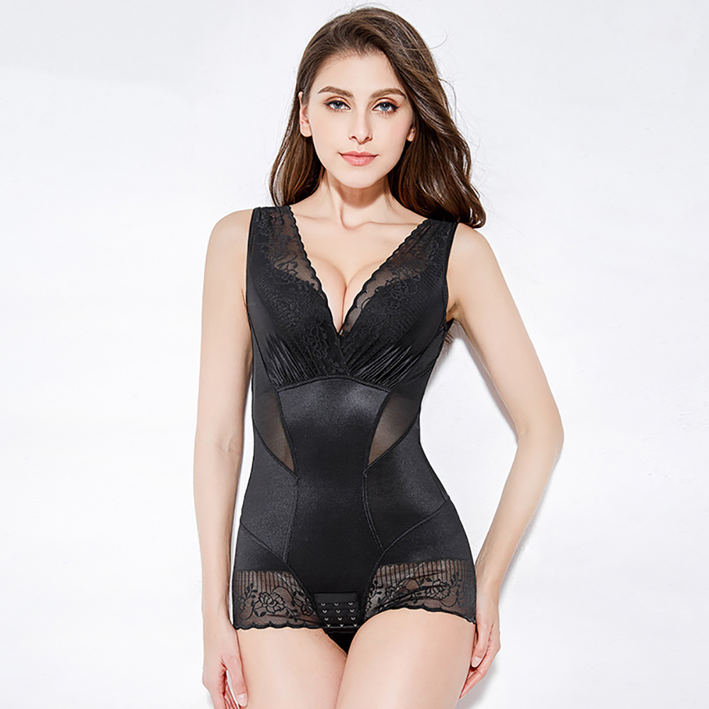 Women Underwear Thin Lace Body-shaping Postpartum Abdomen Waist Corset Legs Hip Body-building Corset Black_XL