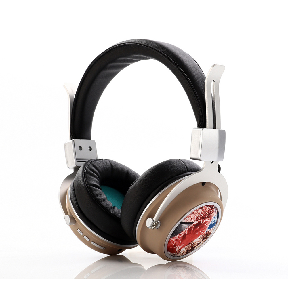 Head Set Wireless BT Bass Headset Phone Insert Card Radio Headset MH5 Camel