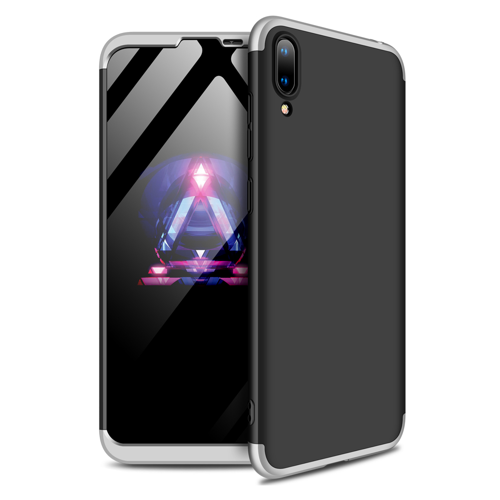 For HUAWEI Y7 2019 Ultra Slim PC Back Cover Non-slip Shockproof 360 Degree Full Protective Case Silver black silver