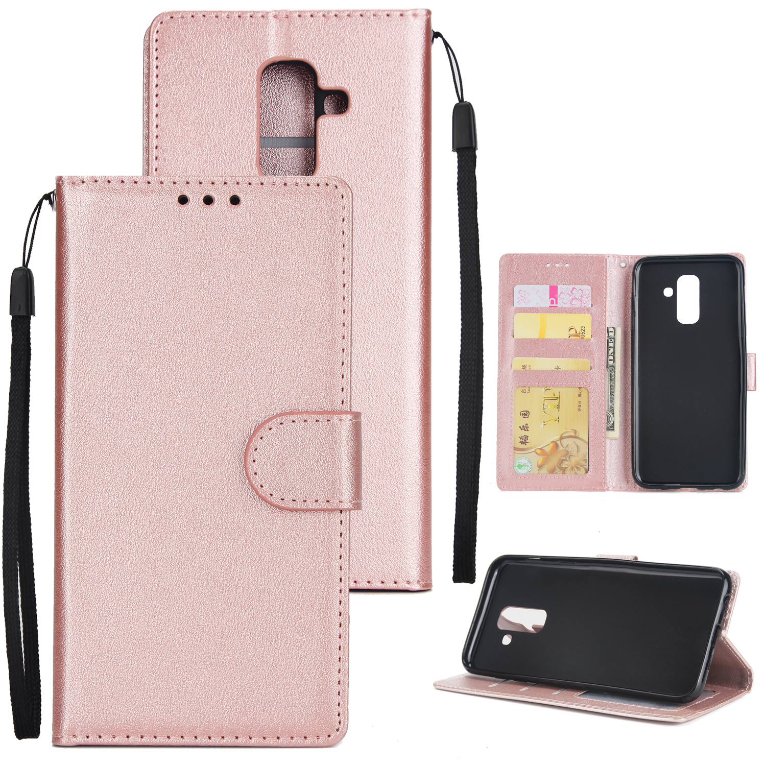 For Samsung A6 PLUS 2018 Flip-type Leather Protective Phone Case with 3 Card Position Rose gold