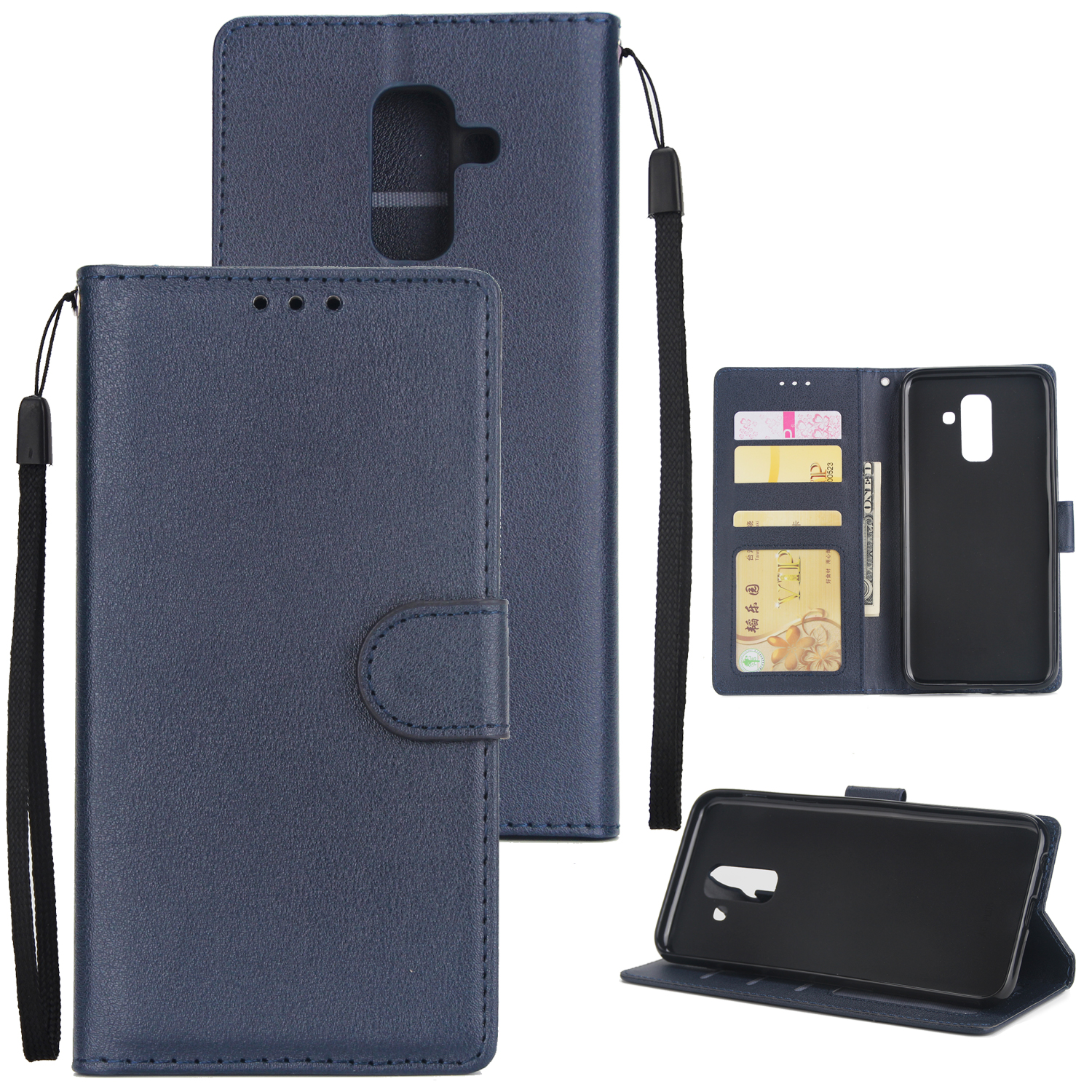 For Samsung A6 PLUS 2018 Flip-type Leather Protective Phone Case with 3 Card Position blue