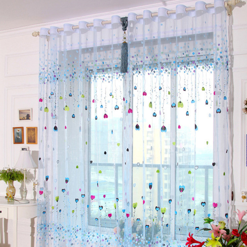 Tulle Curtain with Loving Heart Balloons Pattern for Home Balcony Living Room Kids Room  1m wide * 2m high (through rod processing)_Blue balloon yarn