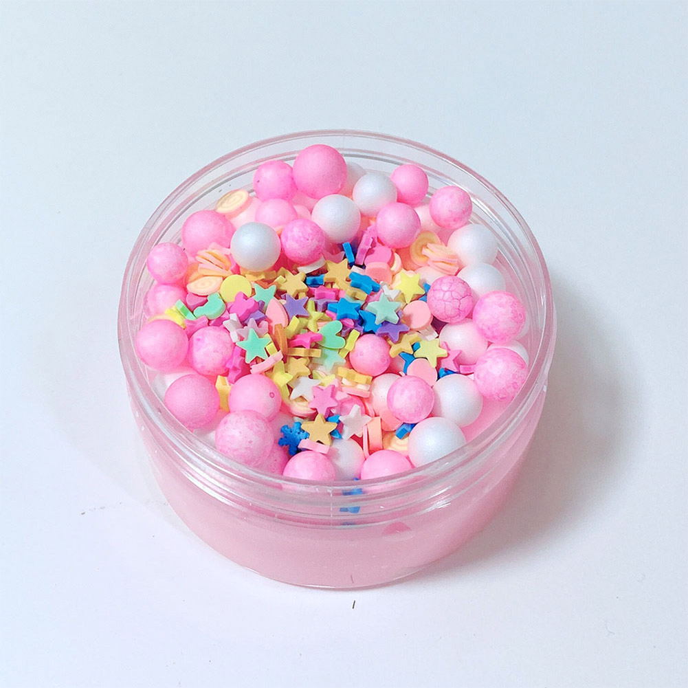 DIY Cotton Candy Glossy Foam Beads Slime Toy Kids Stress Reliever