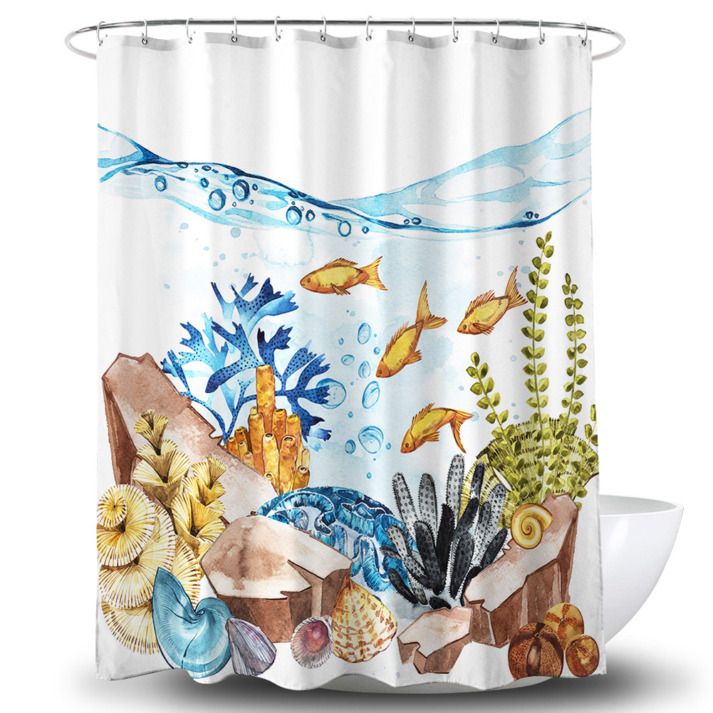 Waterproof Shower Curtain with 3D Seabed Printing for Bathroom Toilet Coating + 30g embedded wire_180 * 180cm