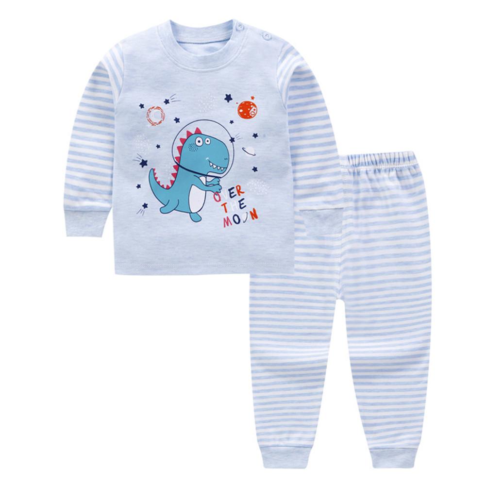 2 Pcs/set Children's Underwear Set Cotton Long-sleeve + Trousers for 0-3 Years Old Kids B _90cm