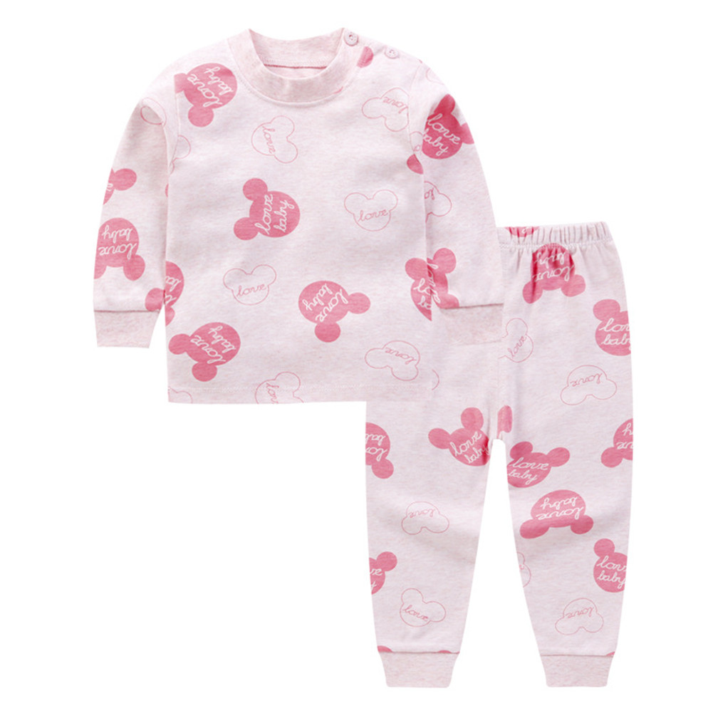 2 Pcs/set Children's Underwear Set Cotton Long-sleeve + Trousers for 0-3 Years Old Kids D_90cm
