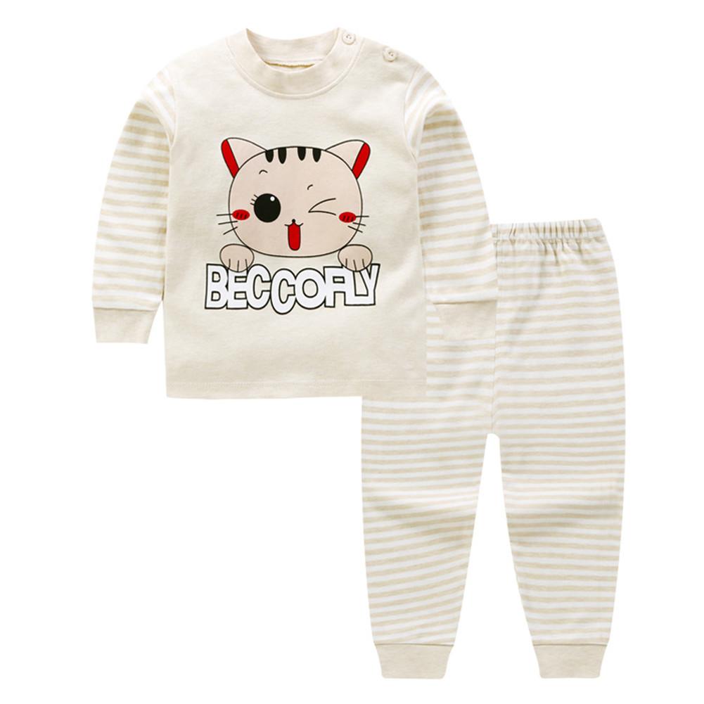 2 Pcs/set Children's Underwear Set Cotton Long-sleeve + Trousers for 0-3 Years Old Kids C_90cm