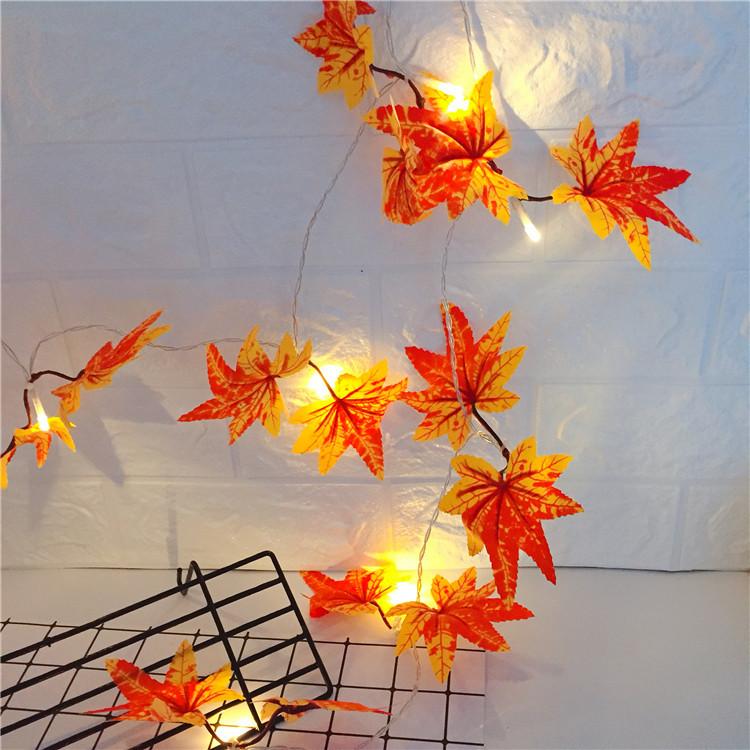 Leds Maple Leaves String Light Decorative Garland Artificial Flowers Led Lamp Battery Powered 2 meters 10 lights