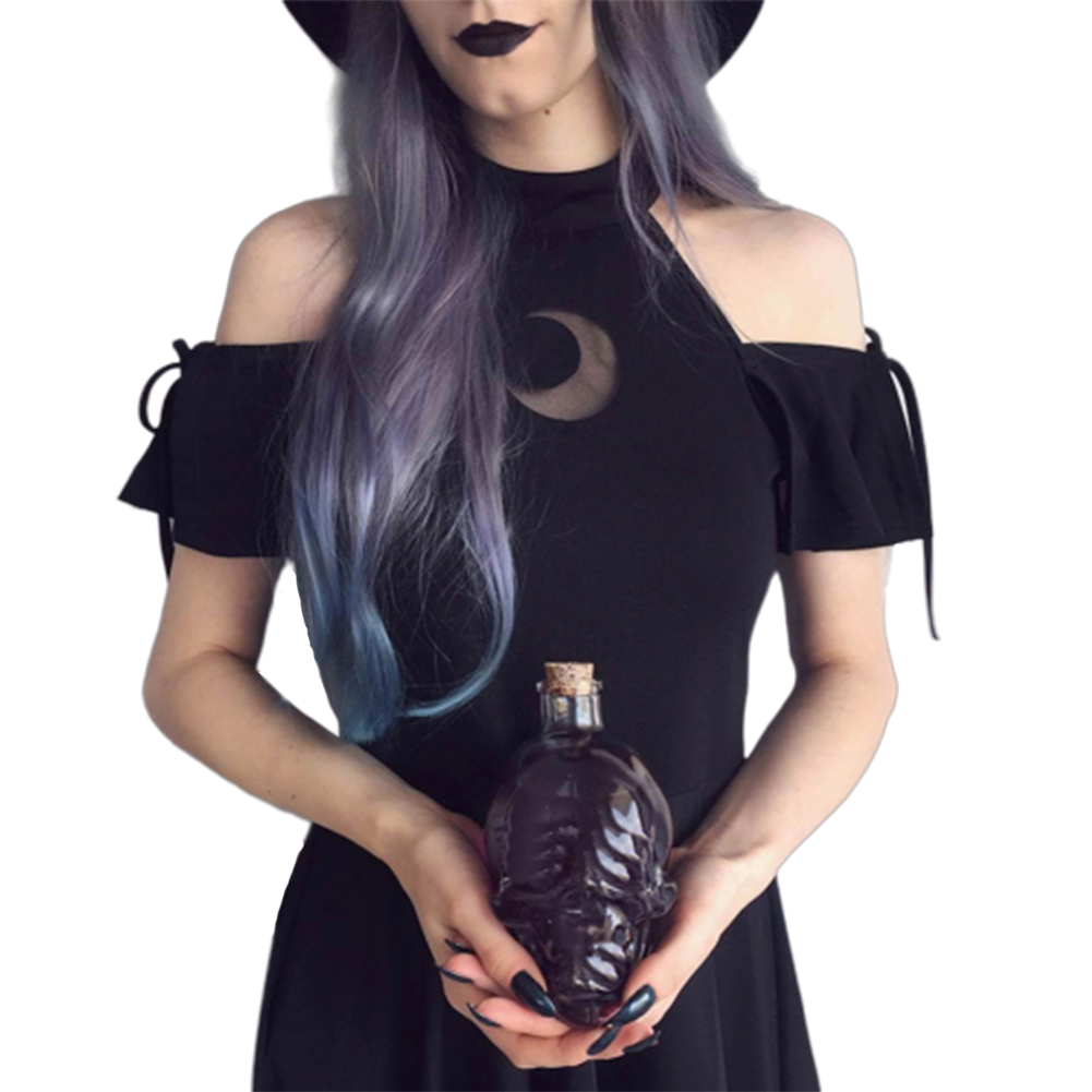 Women Hollow Out Crescent Moon Lacing Black Dress Halloween Costume black_S