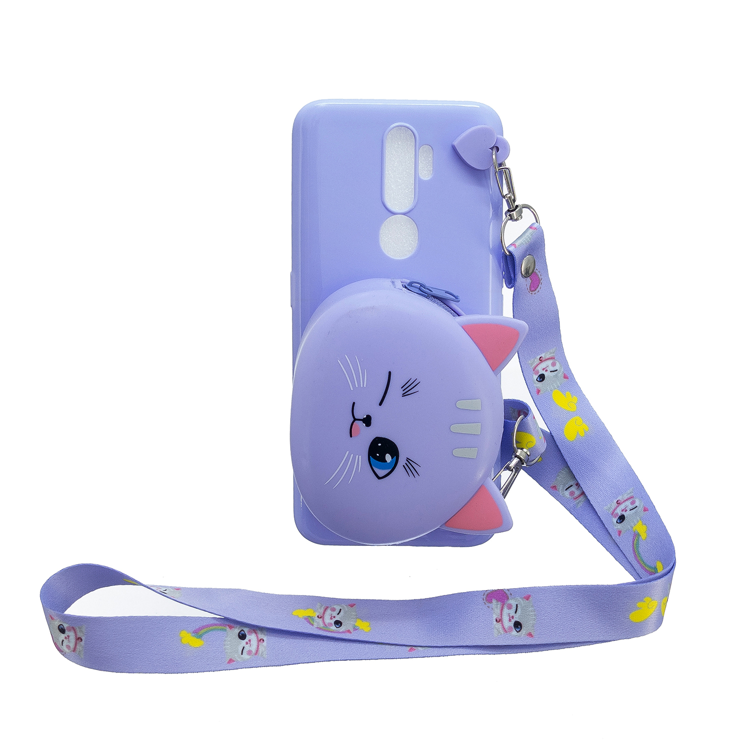 For OPPO A83/A9 2020 Cellphone Case Mobile Phone TPU Shell Shockproof Cover with Cartoon Cat Pig Panda Coin Purse Lovely Shoulder Starp  Purple