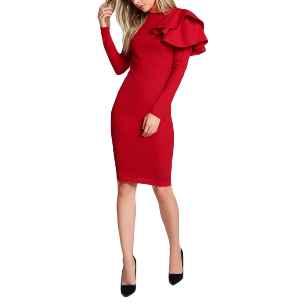 Women Fashionable Slim Round Collar Sexy Dress with Shoulder Flowers Design Long Sleeve Skirt