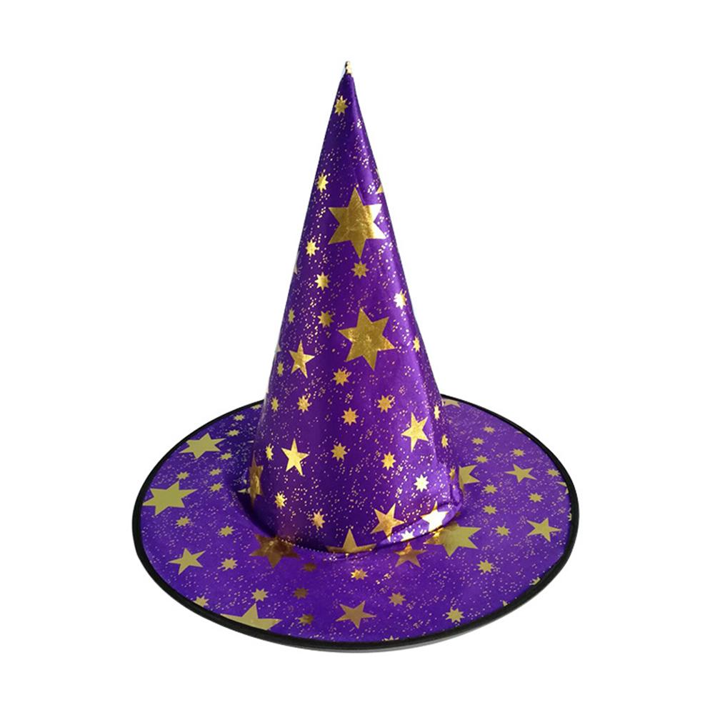 Children Adult Halloween Cosmetic Ball Party Pentagonal Magic Wizard Cap Witch Hat Purple star hat_38*36cm