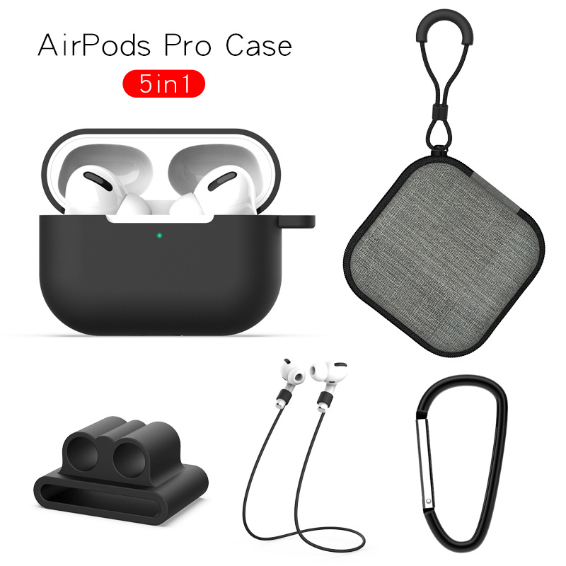 Earphone Protective Case for AirPods Pro Soft Silicone Cover+Carabiner+Anti-lost Strap+Wrist Holder+Storage Bag Black