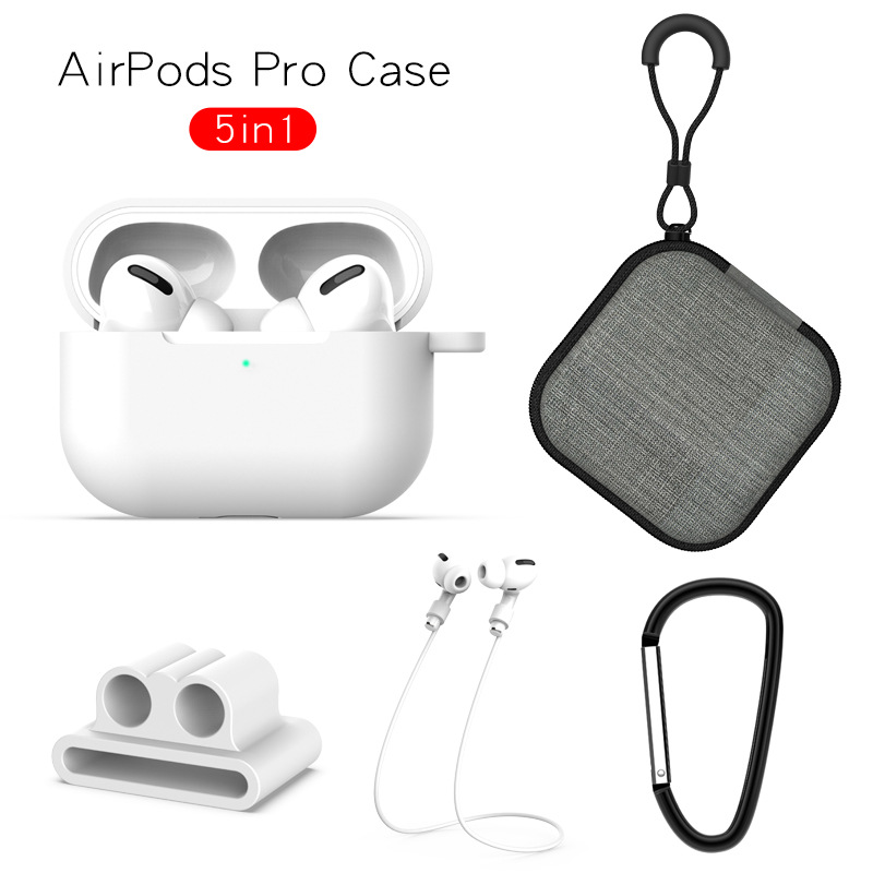 Earphone Protective Case for AirPods Pro Soft Silicone Cover+Carabiner+Anti-lost Strap+Wrist Holder+Storage Bag White