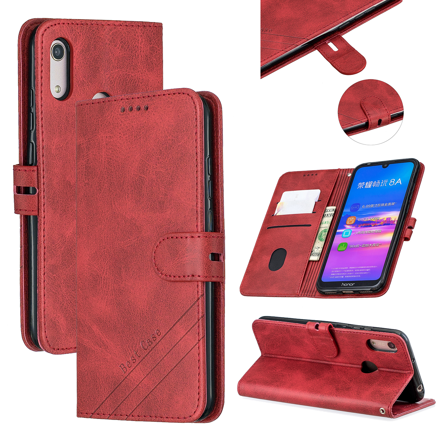 For HUAWEI Y6 2019 Denim Pattern Solid Color Flip Wallet PU Leather Protective Phone Case with Buckle & Bracket red