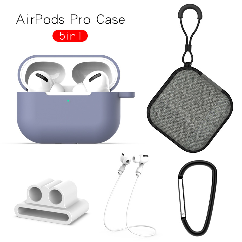 Earphone Protective Case for AirPods Pro Soft Silicone Cover+Carabiner+Anti-lost Strap+Wrist Holder+Storage Bag Lavender-gray