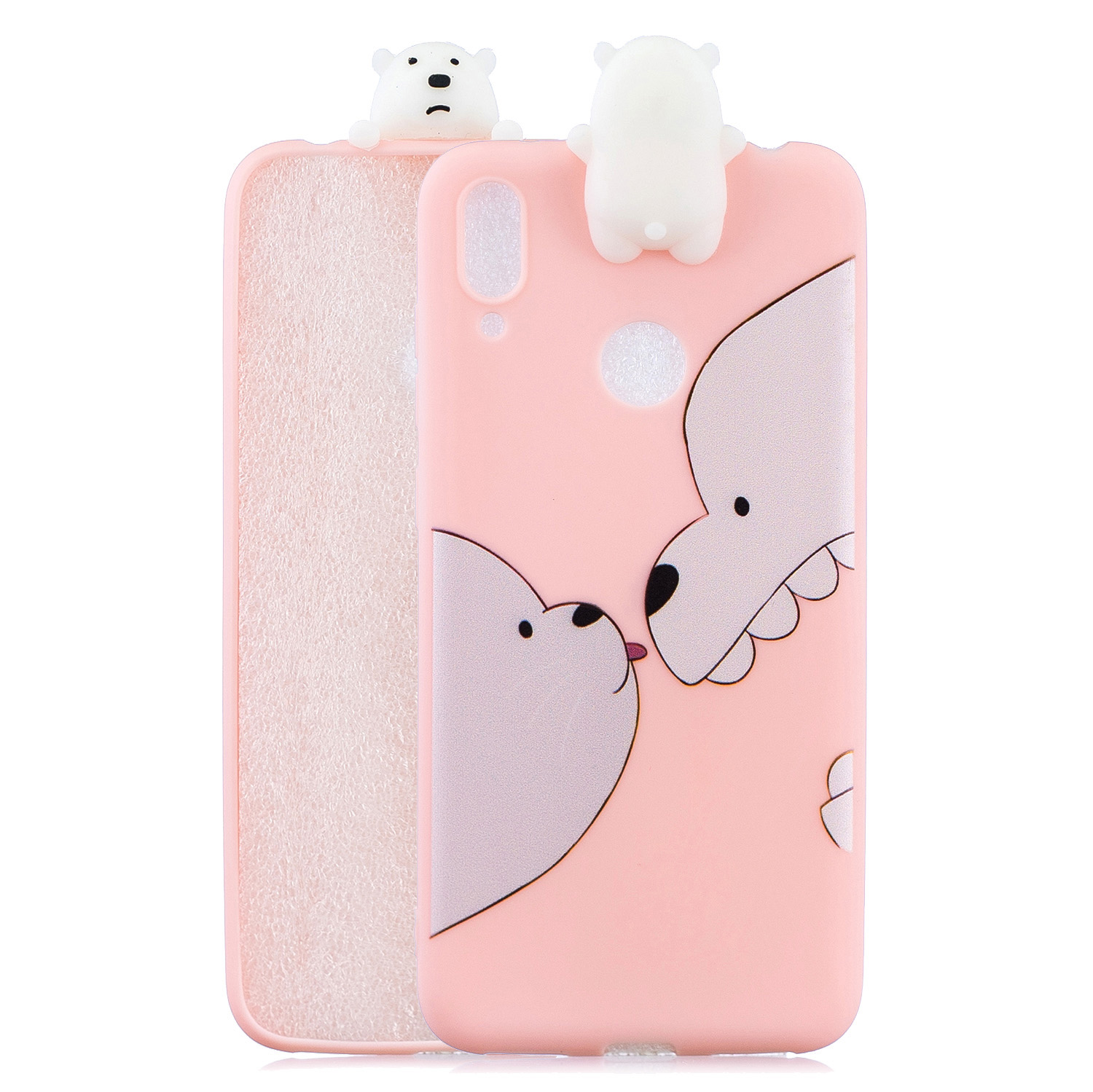 For Huawei Y7 2019 3D Cartoon Lovely Coloured Painted Soft TPU Back Cover Non-slip Shockproof Full Protective Case Big white bear