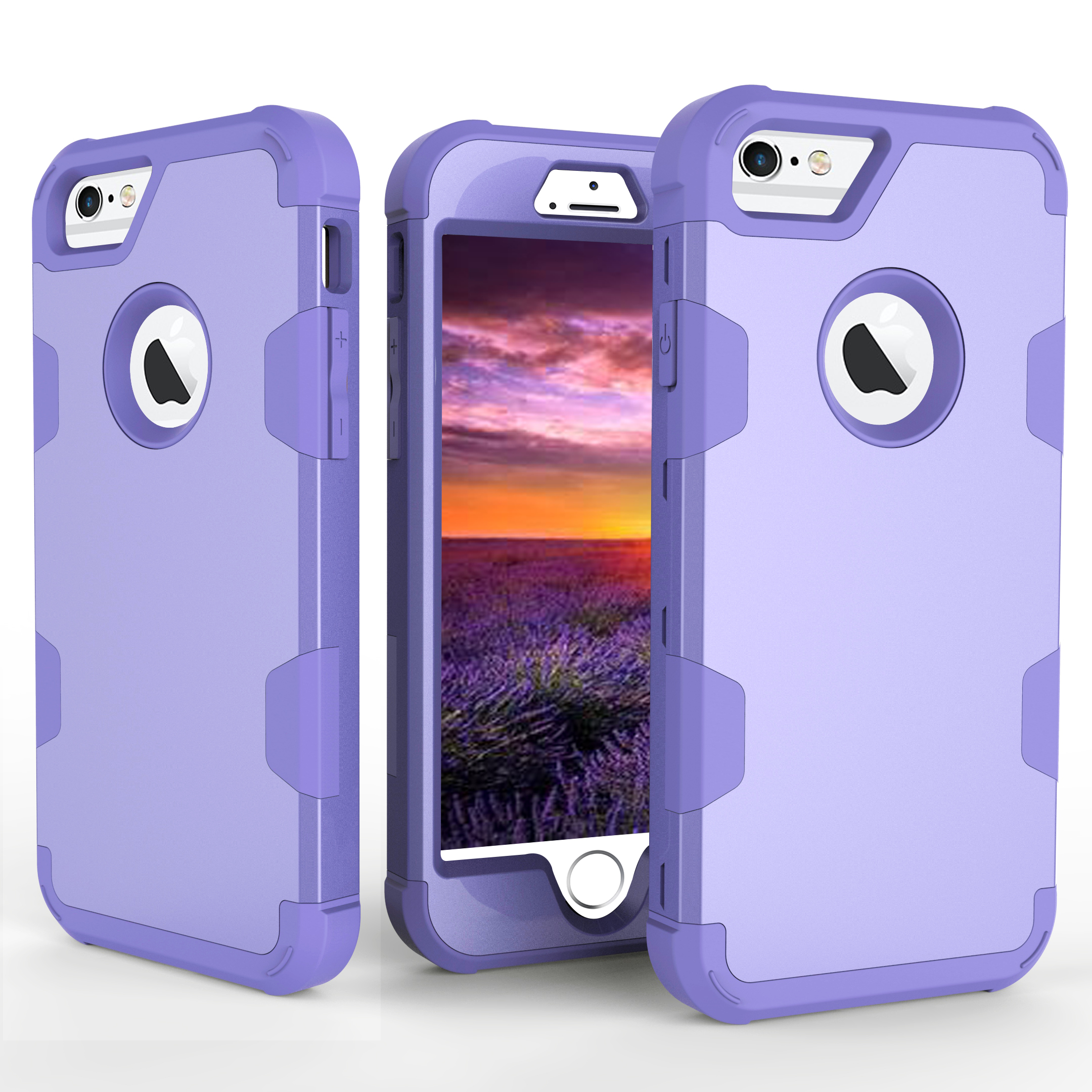 For iPhone 6/6S PC+ Silicone 2 in 1 Hit Color Tri-proof Shockproof Dustproof Anti-fall Protective Cover Back Case purple
