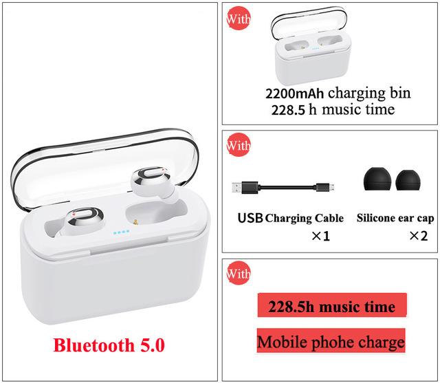 Bluetooth Earphone Sports Wireless Mini HiFi Handsfree Headphone Stereo Sound Earbuds Gaming Headset with Charging Box white