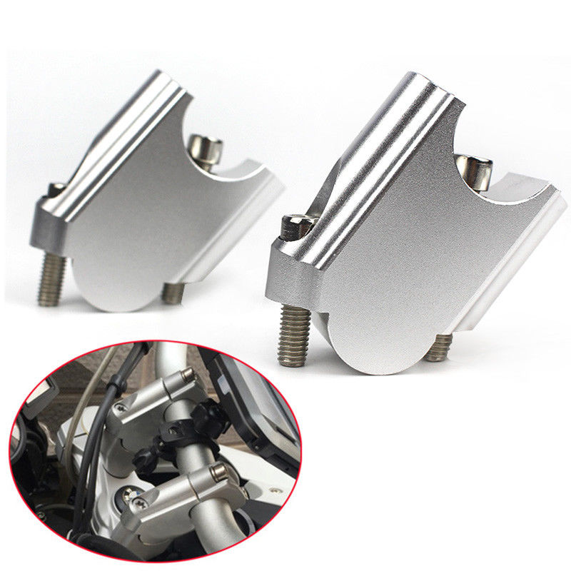 CNC Machining Handlebar Risers Bar Clamp Extend Adapter With Bolts for BMW F800GS 08-17 Silver