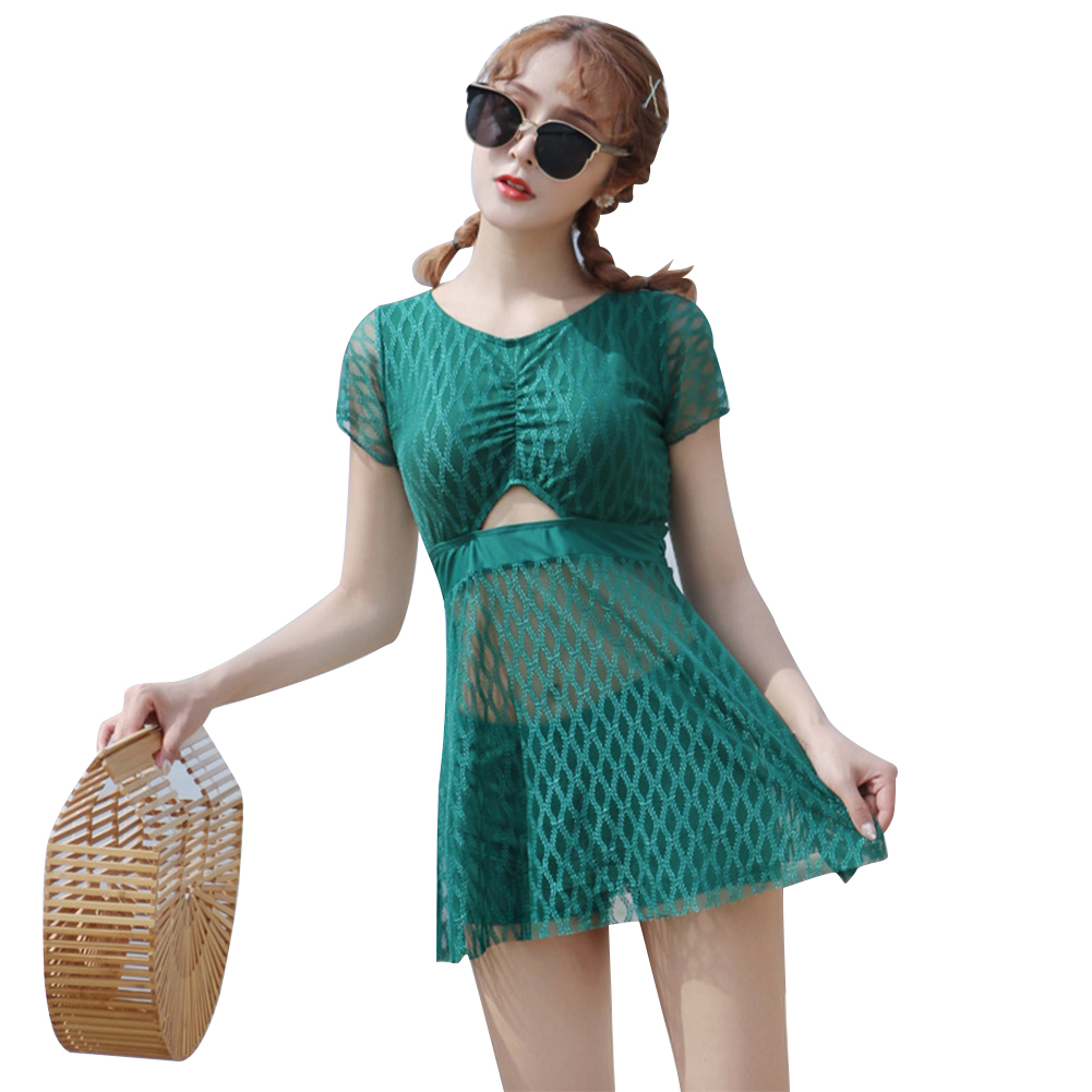 2 Pieces/set Swimsuit  Feminine  Skirt-style One-piece Beauty Back Belly Slimming Sexy Bathing Suit green_L