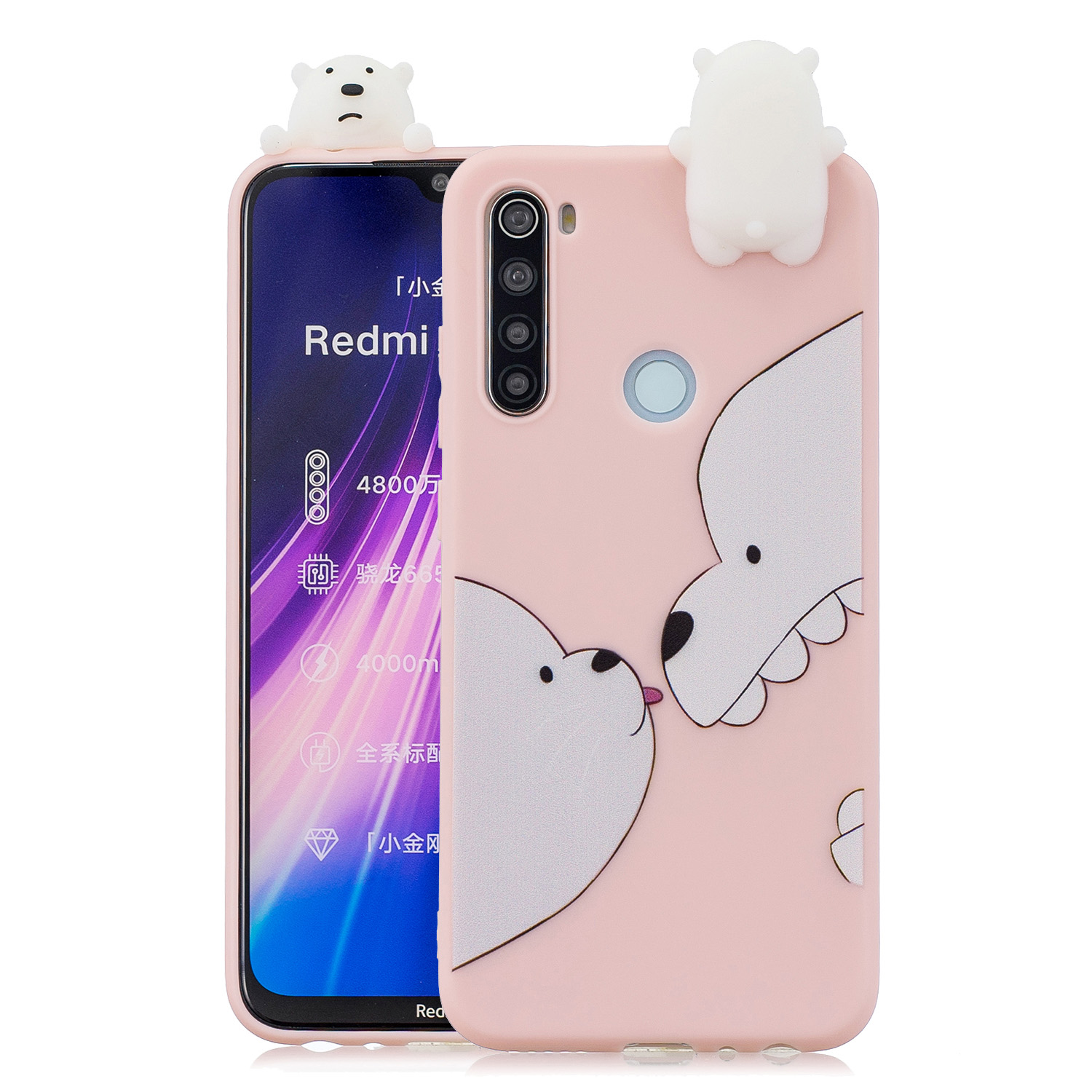 For Redmi NOTE 8T 3D Cartoon Painting Back Cover Soft TPU Mobile Phone Case Shell Big white bear